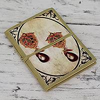 Handmade paper journal, 'Royal Past' - Jewel Motif Artisan Handmade Journal with Cotton Binding