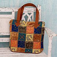 Cotton blend tote handbag,