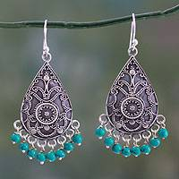 Turquoise dangle earrings, 'Blue Orbs' - Fair Trade Oxidized Silver and Turquoise Dangle Earrings