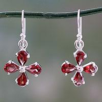 Garnet dangle earring,