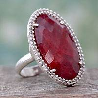 Enhanced ruby cocktail ring, 'Ravishing Ruby' - Handmade Enhanced Ruby Cocktail Ring with CZ