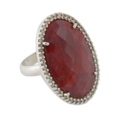 Handmade Enhanced Ruby Cocktail Ring with CZ