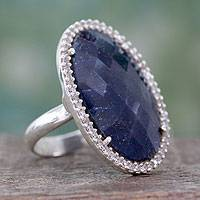 Enhanced sapphire cocktail ring, 'Stunning Sapphire' - Handcrafted Enhanced Sapphire and CZ Cocktail Ring