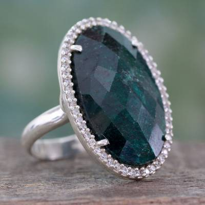 Enhanced corundum cocktail ring, 'Gorgeous Green' - Fair Trade Cocktail Ring with Dyed Green Corundum and CZ