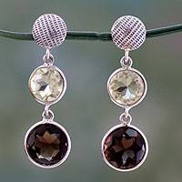 Smoky topaz and lemon quartz dangle earrings, 'Smoke and Fire' - Faceted Lemon Quartz and Smoky Quartz Earrings