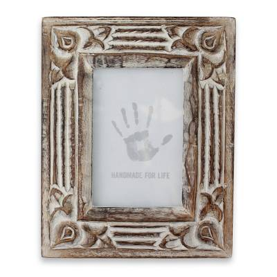 Hand Carved Wooden Photo Frame with Antiqued Finish (4x6)