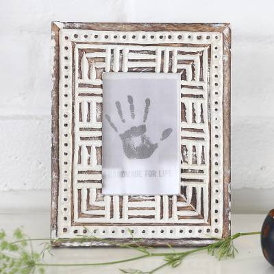 Wood photo frame, 'Mughal Motifs' (4x6) - Handmade Antiqued Finish Mango Wood Photo Frame (4x6)