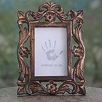 Wood photo frame, 'Mughal Grandeur' (4x6) - Carved Wood Photo Frame with Floral Motifs from India (4x6)