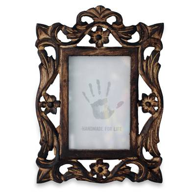 Carved Wood Photo Frame with Floral Motifs from India (4x6)