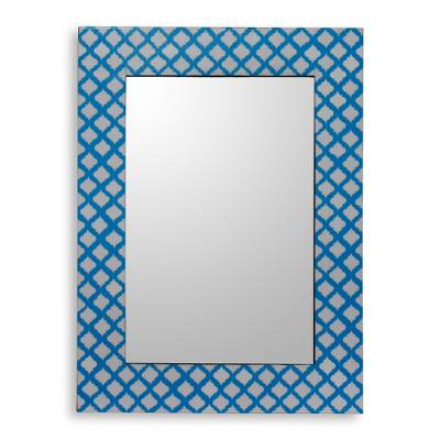 Blue and White Resin Wall Mirror Handmade in India