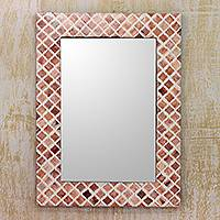 Resin wall mirror, 'Brown Illusion' - Fair Trade Resin Framed Wall Mirror in Brown and White