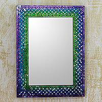 Glass mosaic wall mirror, 'Holi Festival' - Unique Artisan Crafted Glass Mosaic Tile Wall Mirror