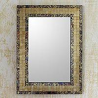 Glass mosaic wall mirror, 'Golden Fire' - Artisan Made Golden Glass Mosaic Tile Wall Mirror