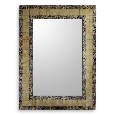 Artisan Made Golden Glass Mosaic Tile Wall Mirror
