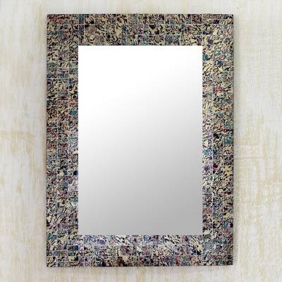 Glass mosaic wall mirror, Smoldering Fire