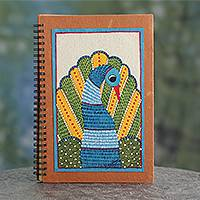Journal, 'Dance of Freedom' - Gond Style Handmade Paper Journal by Indian Artisan