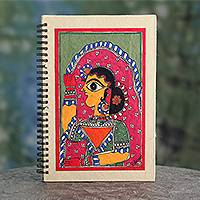Madhubani journal, 'New Bride' - Signed Handpainted Madhubani Style Blank Journal