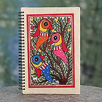 Madhubani journal, 'Friendship' - Artisan Crafted Indian Folk Art Journal with Bird Motif