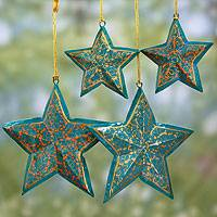 Wood Christmas ornaments, 'Starry Sky' (set of 4) - Handmade Wooden Star Christmas Ornaments (set of 4)