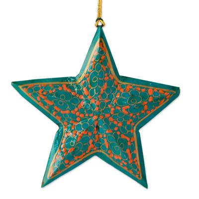 Wood Christmas ornaments, 'Starry Sky' (set of 4) - Handmade Wooden Star Christmas Ornaments (set of 4)