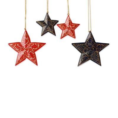 Artisan Crafted Wooden Star Christmas Ornaments (Set of 4)