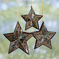 Wood Christmas ornaments, 'Midnight Blue Charm' (set of 3) - Midnight Blue Star Ornaments Painted by Hand (Set of 3)