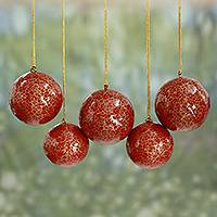 Papier mache ornaments, 'Christmas Cheer' (set of 5) - Handmade Floral Christmas Ornaments in Red and Gold