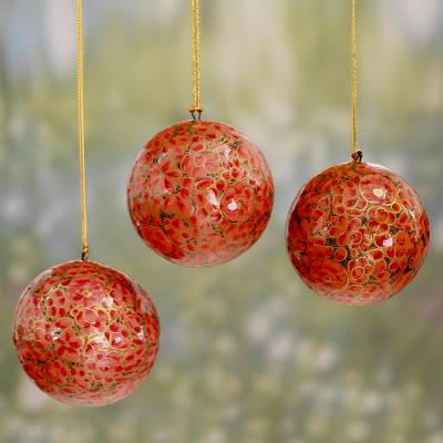 Papier mache ornaments, 'Kashmiri Holiday' (set of 3) - Handmade Round Floral Papier Mache Ornaments (set of 3)