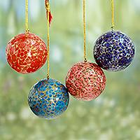 Papier mache ornaments, 'Kashmiri Holiday' (set of 4) - Fair Trade Hand Painted Round Floral Ornaments (set of 4)