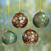 Papier mache ornaments, 'Chinar Cheer' (set of 4) - Green and Black Leaf Pattern Holiday Ornaments (set of 4)