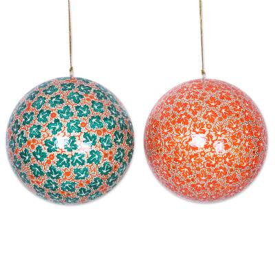 Artisan Hand-Painted Papier Mache Ornaments (pair)