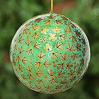 Large papier mache ornament, 'Golden Chinar Cheer' - Large Papier Mache Christmas Ornament from India