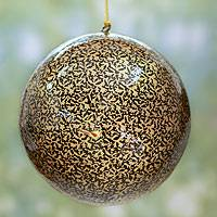 Extra large papier mache ornament, 'Golden Midnight Holiday' - 6 Inch Handmade Black and Gold Christmas Ornament