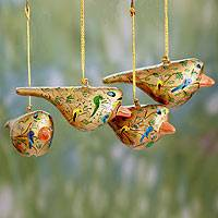 Papier mache ornaments, 'Peace and Joy' (set of 4)