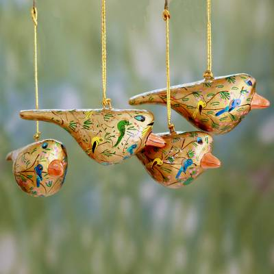 Papier mache ornaments, Peace and Joy (set of 4)