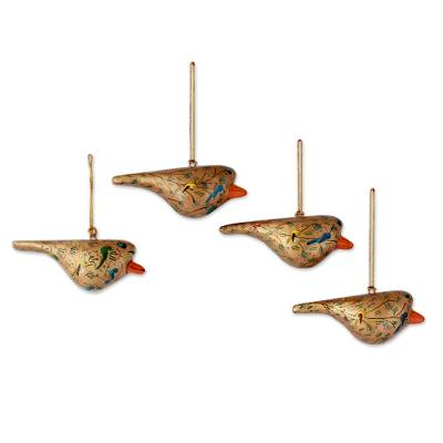 Papier mache ornaments, 'Peace and Joy' (set of 4) - Handcrafted Golden Papier Mache Bird Ornaments (set of 4)