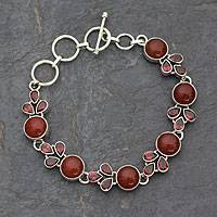 Garnet and carnelian link bracelet, 'Romantic Glow' - Natural Carnelian and Garnet Gemstone Link Bracelet