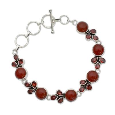 Natural Carnelian and Garnet Gemstone Link Bracelet