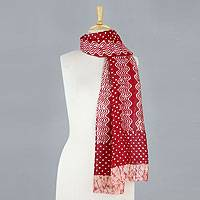 Cotton and silk blend batik scarf, 'Waves from the West' - Red and White Woven Cotton and Silk Blend Batik Scarf