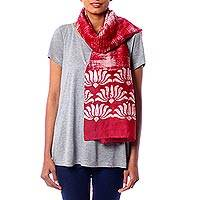 Cotton and silk blend batik scarf, 'Dancing Lotus' - Tie-Dyed Red Batik Scarf Handcrafted from Cotton Silk Blend