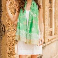 Cotton and silk blend batik scarf,