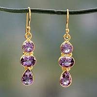 Amethyst and gold vermeil dangle earrings, 'Lilac Triad' - 22k Gold Vermeil Dangle Earrings with Three Amethysts