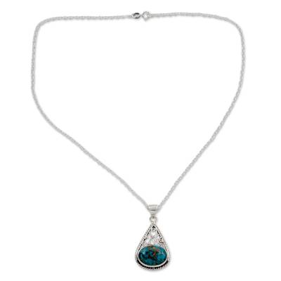 Sterling Silver and Composite Turquoise Pendant Necklace
