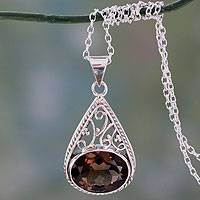 Smoky quartz pendant necklace, 'Misty Romance' - Handcrafted Smoky Quartz and Silver Pendant Necklace