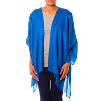 Wool shawl, 'Kashmiri Diamonds in Blue' - Royal Blue Hand Loomed All Wool Shawl Made in India