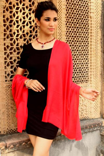 Wool shawl, 'Kashmiri Diamonds in Red' - Women's True Red 100% Wool Shawl Handmade in India
