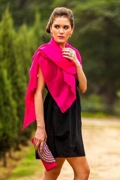 Wool shawl, 'Magenta Glamour' - Indian Hand Crafted Magenta Jacquard Wool Shawl
