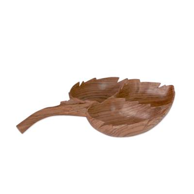 Leaf Shaped Catchall Tray Hand Carved from Walnut Wood