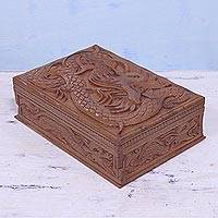 Walnut wood jewelry box, 'Dragons of Kashmir' - Hand Carved Walnut Wood Jewelry Box Lined with Red Velvet