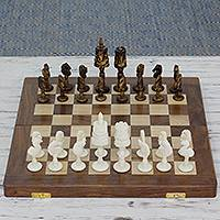 Wood chess set, 'Ganesha's Challenge' - Handmade Ganesha Themed Wood and Bone Chess Set